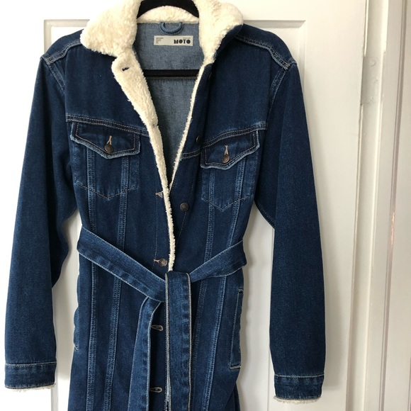Blue jean and shearling trim medium length jacket
